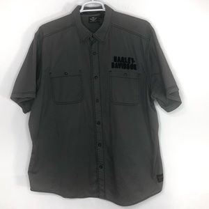 Harley-Davidson gray button up with eagle size 2XL